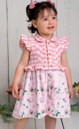 Vestido Infantil Sofisticado Morangos Xadrez Pinoti Baby