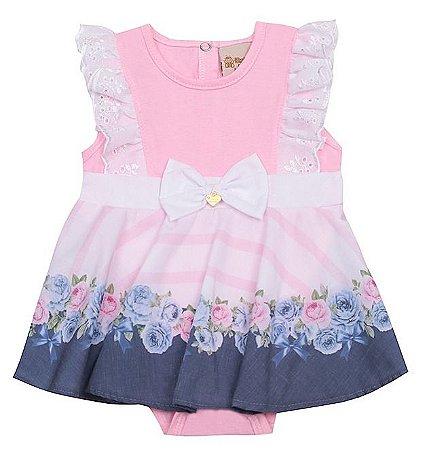Vestido Bebê Festa Floral Azul com Body Doces Momentos