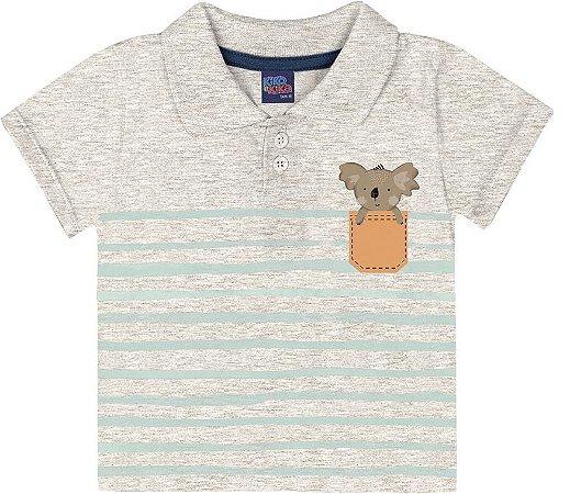 Camiseta Bebê Polo Manga Curta Koalinha Kiko e Kika