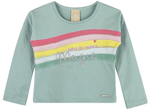 Camiseta Infantil Manga Longa Lantejoula Arco Iris Bailarina Colorittá Verde