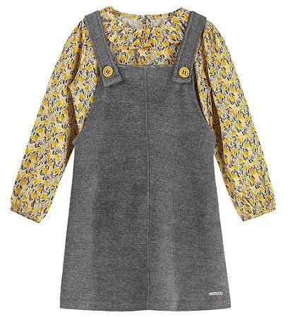 Vestido Infantil Salopete Veludo Blusa Viscose Iris Bailarina Amarelo Colorittá