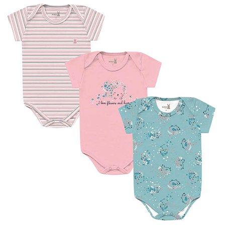 Kit Body Bebê Manga Curta Menina Porquinho Tricolor Kiko Baby