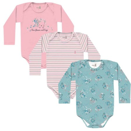 Kit Body Bebê Manga Longa Menina Porquinho Tricolor Kiko Baby