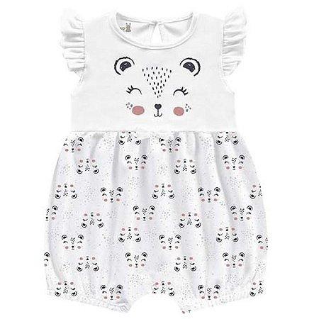 Macacão Curto Romper Molecotton Menina Porquinho Branco Kiko Baby