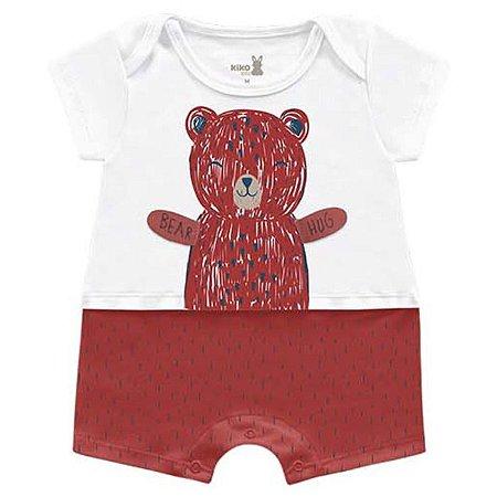 Macacão Curto Romper Unissex Abraço Urso Vermelho Kiko Baby