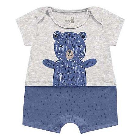 Macacão Curto Romper Unissex Abraço Urso Azul Kiko Baby