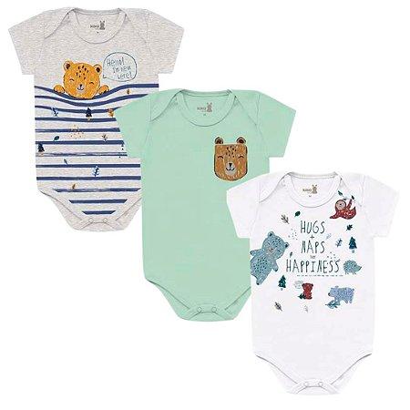 Kit Body Bebê Manga Curta Unissex Abraço Urso Tricolor Encantada Kiko Baby
