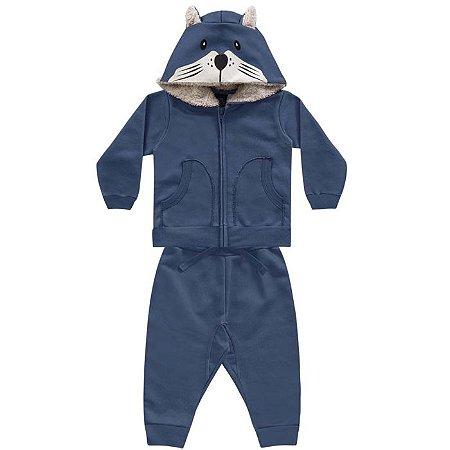 Conjunto Moletom Bebê Peluciado Capuz Pêlos Fox Azul Encantada Kiko e Kika