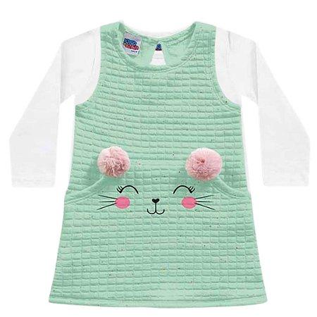 Vestido Bebê Moletom Matelassê Gatitta com Blusa Iris Bailarina Verde Kiko e Kika