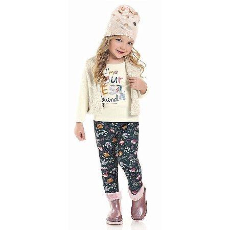 Conjunto Longo Infantil Menina Colete Pelucia Legging Iris Kiko e Kika