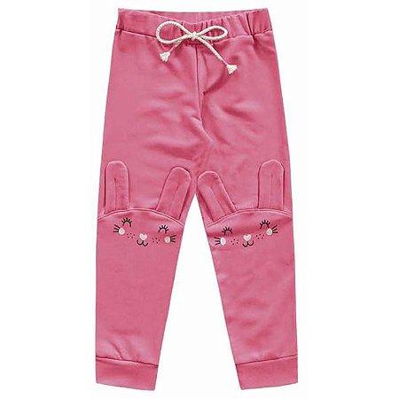 Calça Moletom Legging Infantil Menina Coelhinha Pink Kiko e Kika