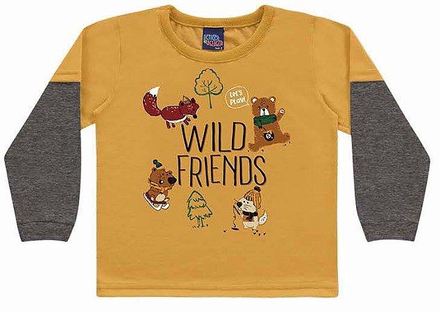 Camiseta Infantil Manga Longa Wild Friends Encantada Amarela Kiko e Kika