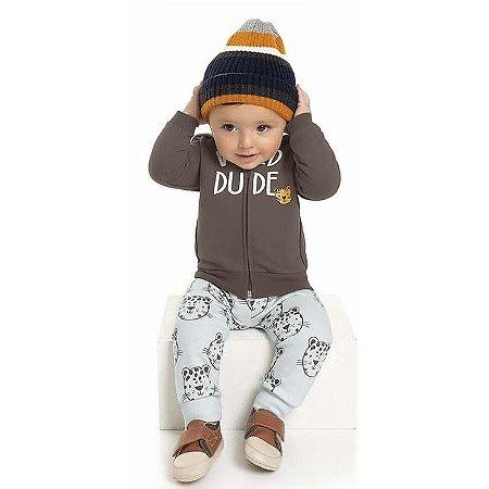 Conjunto Moletom Bebê Peluciado Capuz Wild Dude Marrom Kiko e Kika
