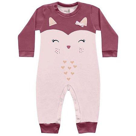 Macacão Suedine Bebê Menina Corujinha Rosa Kiko Baby