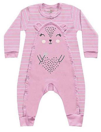 Macacão Suedine Bebê Menina Porquinho Rosa Kiko Baby