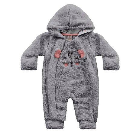 Macacão Longo Bebê Pêlos Fluffy Porquinho Cinza Kiko Baby