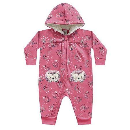 Macacão Moletom Felpado Porquinho Rosa Kiko Baby