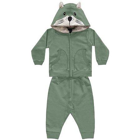 Conjunto Moletom Bebê Peluciado Capuz Pêlos Fox Verde Encantada Kiko e Kika