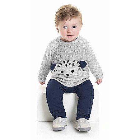 Conjunto Moletom Bebê Peluciado Ursinho Pelinhos Cinza Kiko e Kika