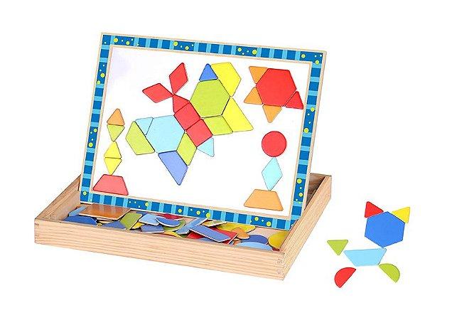 Brinquedo de Madeira com Peças Magnéticas  com 78 peças - Formas