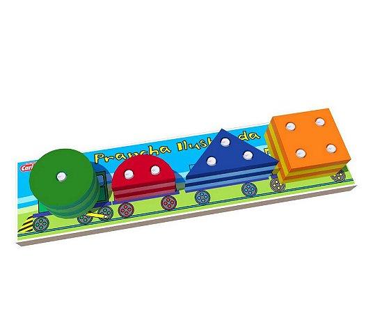 Brinquedo Educativo Prancha Ilustrativa com Encaixe Geométrico