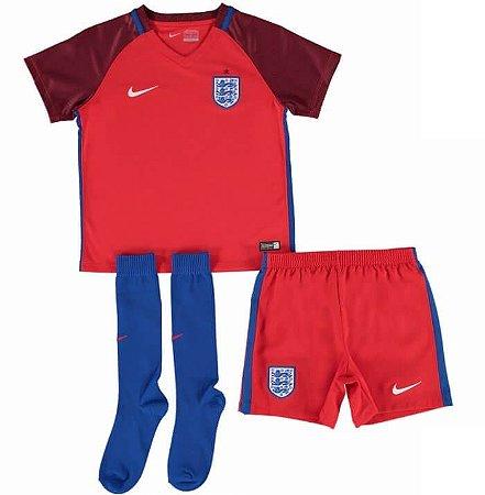 Kit oficial infantil Nike seleção da Inglaterra Euro 2016 II jogador