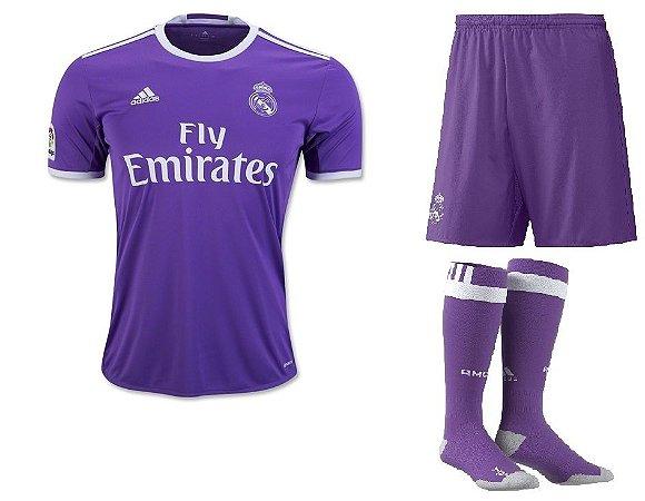 Kit adulto oficial adidas Real Madrid 2016 2017 II jogador
