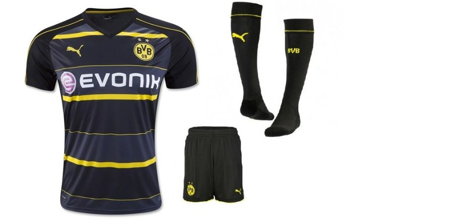 Kit adulto oficial Puma Borussia Dortmund 2016 2017 II jogador