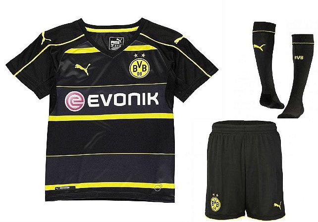 Kit oficial infantil Puma Borussia Dortmund 2016 2017 II jogador