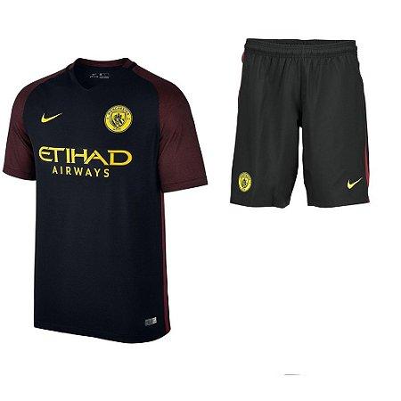 Kit oficial infantil Nike Manchester City 2016 2017 II jogador