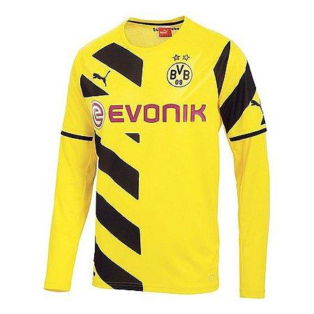 Camisa oficial Puma Borussia Dortmund 2014 2015 I jogador manga comprida Pronta entrega