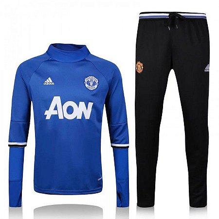 Kit treinamento oficial Adidas Manchester United 2016 2017 azul