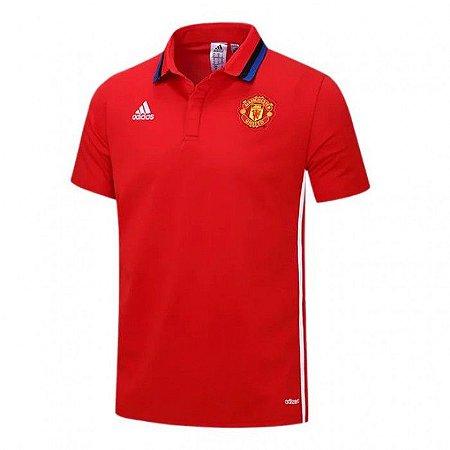 Camisa polo oficial Adidas Manchester United 2016 2017 vermelha