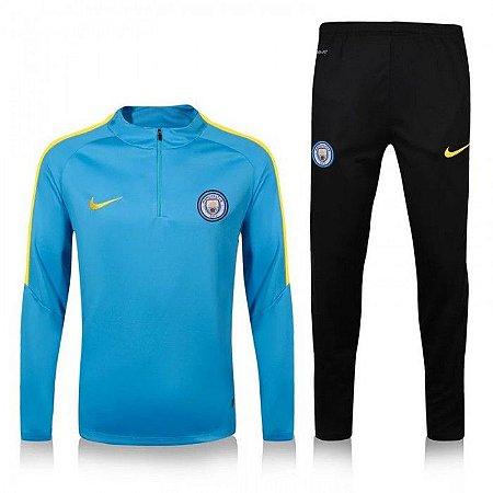 Kit treinamento oficial Nike Manchester City 2016 2017 Azul