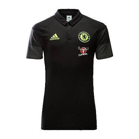 Camisa Polo oficial Adidas Chelsea 2016 2017 preta
