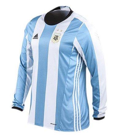 Camisa oficial Adidas seleção da Argentina 2016 I jogador manga comprida