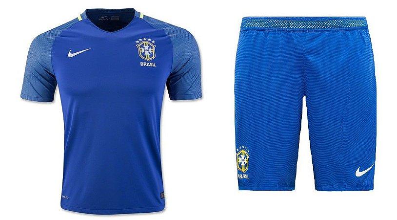 Kit infantil oficial Nike seleção do Brasil 2016 II jogador