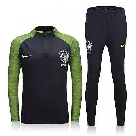 Kit treinamento oficial Nike seleção do Brasil 2016 verde e Preto