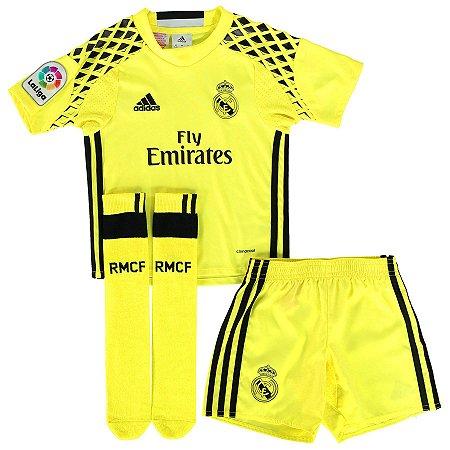 Kit infantil oficial Adidas Real Madrid 2016 2017 II Goleiro