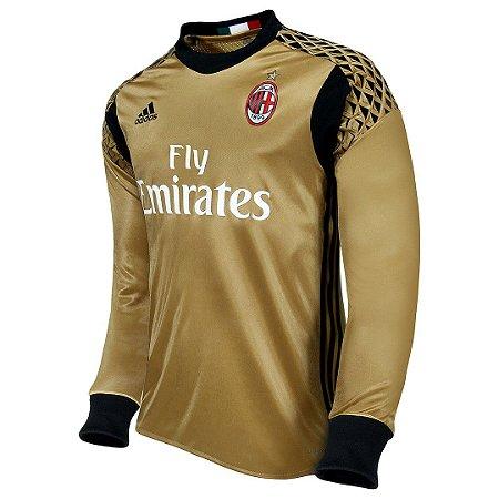 Camisa oficial Adidas Milan 2016 2017 goleiro Dourada