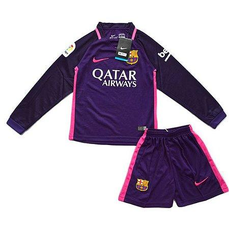 Kit oficial infantil Nike Barcelona 2016 2017 III jogador Manga comprida