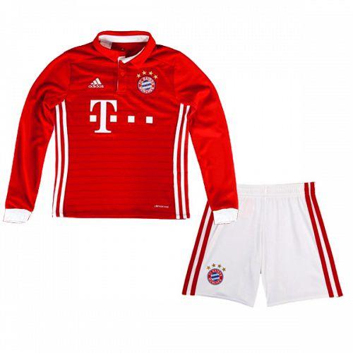 Kit infantil oficial Adidas Bayern de Munique 2016 2017 I jogador manga comprida