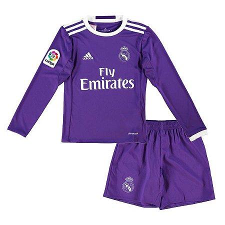 Kit infantil oficial Adidas Real Madrid 2016 2017 II jogador manga comprida
