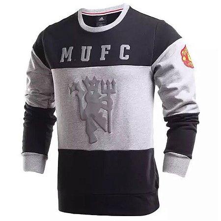 Blusão oficial Adidas Manchester United 2016 2017 Preto e branco
