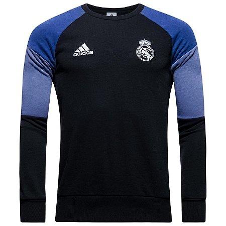 Sueter oficial Adidas Real Madrid 2016 2017 preto e azul