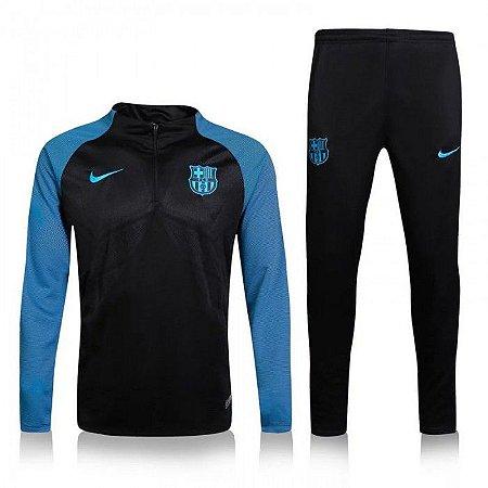 Kit treinamento oficial Nike Barcelona 2016 2017 Azul e Preto