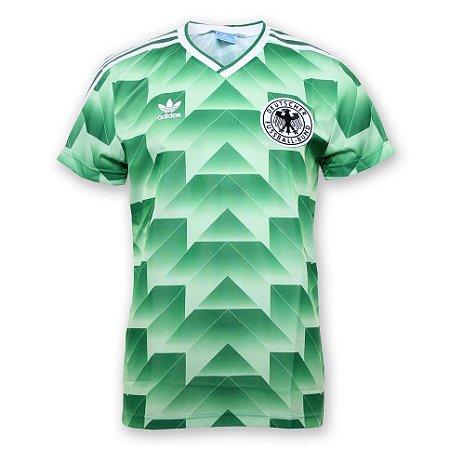 Camisa Retro Adidas Seleção da Alemanha Ocidental Copa de 1990 verde