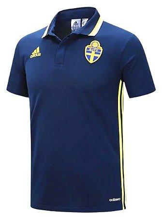 Camisa Polo oficial adidas seleção da Suécia Euro 2016 azul