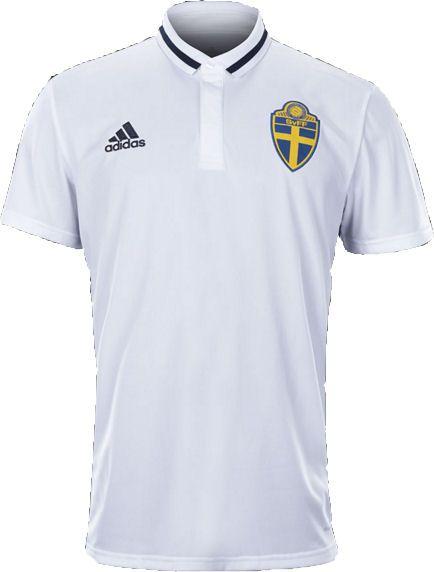 Camisa Polo oficial adidas seleção da Suécia Euro 2016 branca