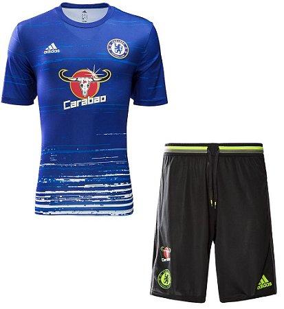 Kit treino oficial Adidas Chelsea 2016 2017 Azul e preto